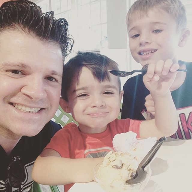 Ice cream with the boys at #OceanReef #therosendales #familyvacation